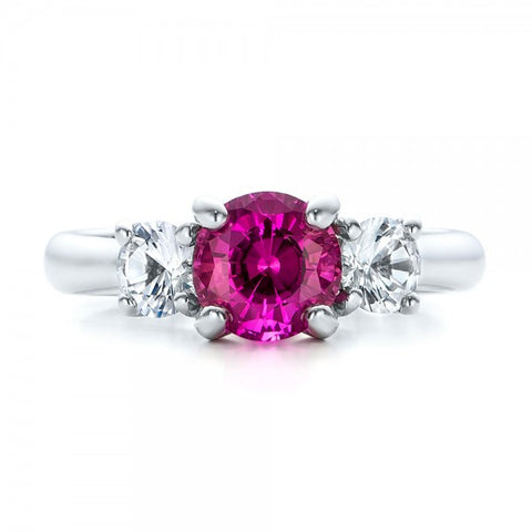 Natural Pink Sapphire Diamond Three Stone Ring 18K Gold