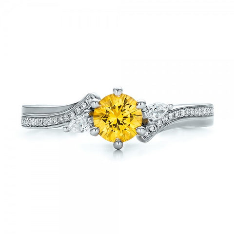 Natural Yellow Sapphire & Diamond Engagement Ring 18K Gold