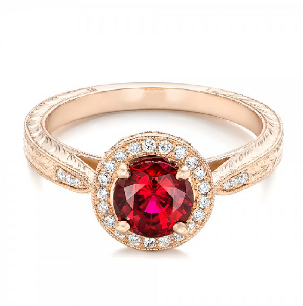 Natural Ruby Diamond Halo Vintage Engagement Ring 18K Gold