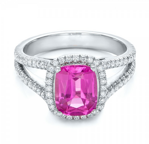 Natural Pink Sapphire Diamond Engagement Ring 18K Gold