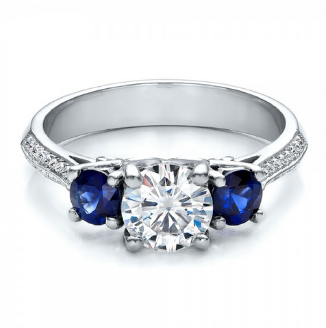 Natural Sapphire & Diamond Vintage Three Stone Ring 18K Gold