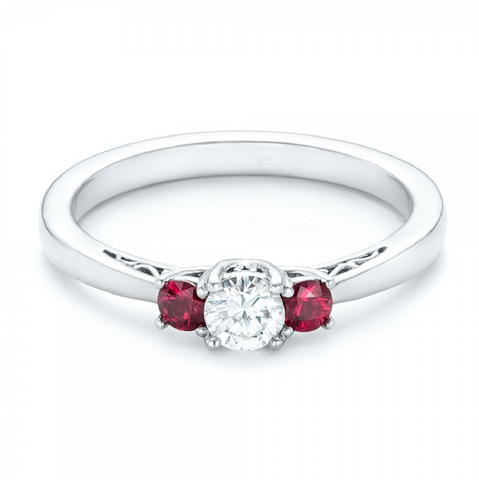 Natural Ruby & Diamond Three Stone Ring 18K Gold