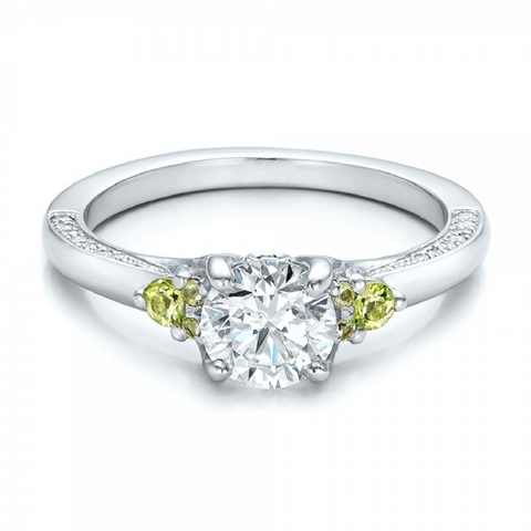 Natural Peridot & Diamond Engagement Ring 18K Gold
