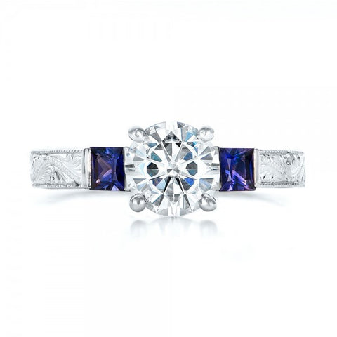Natural Sapphire & Diamond Vintage Engagement Ring 18K Gold