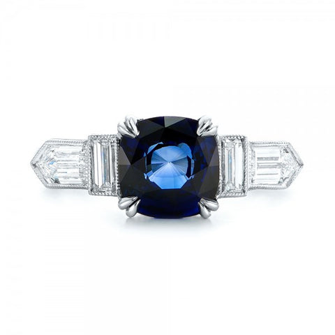 Natural Ceylon Blue Sapphire Diamond Engagement Ring 18K Gold