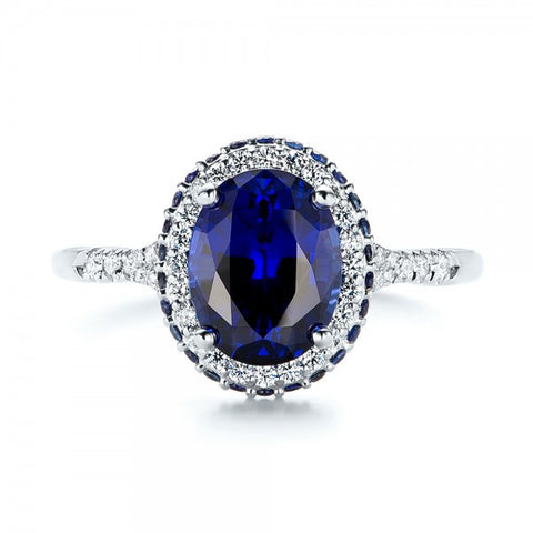 Natural Ceylon Blue Sapphire Unique Diamond Halo Ring 18K Gold