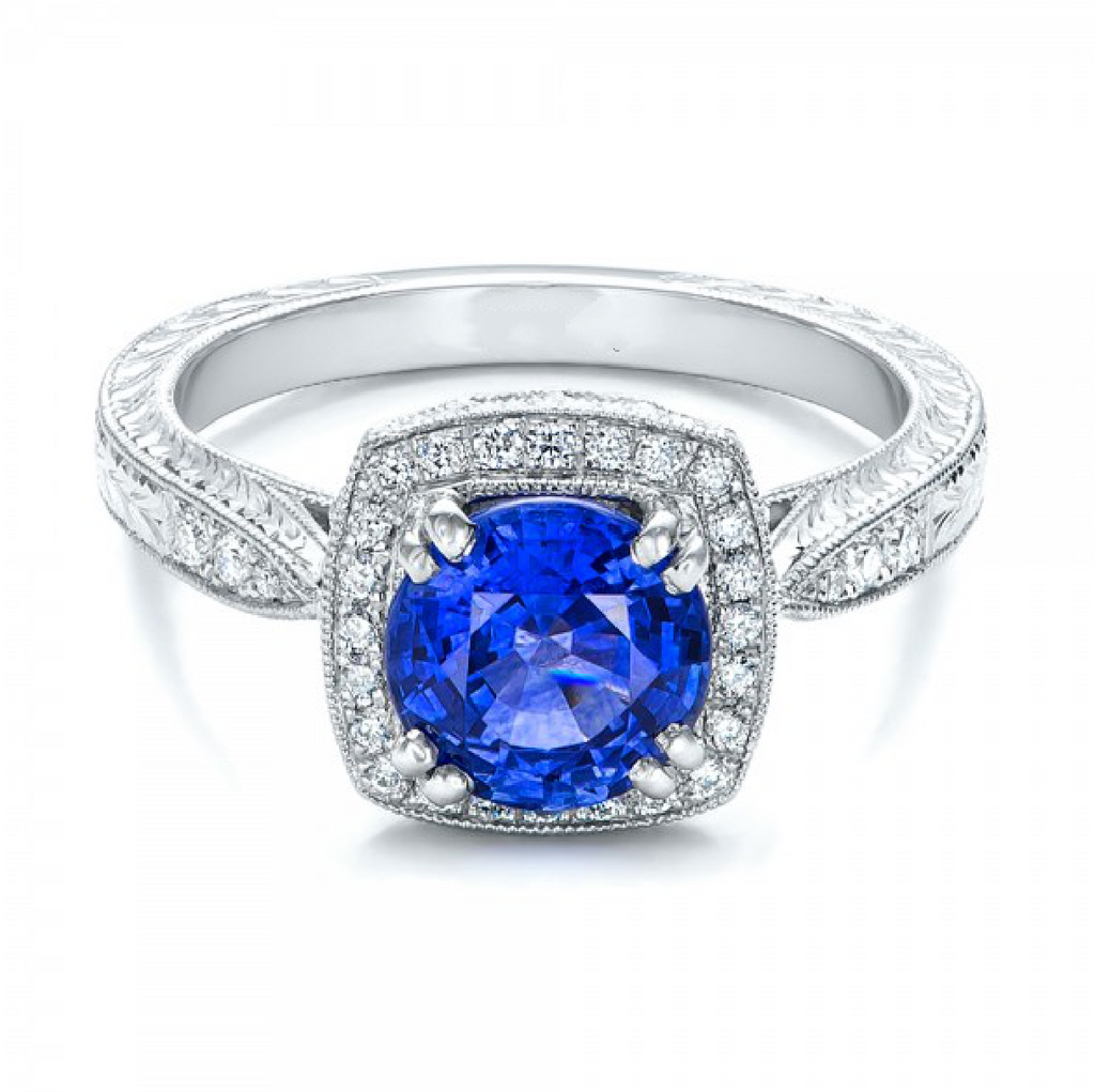 Natural Blue Sapphire Diamond Vintage Halo Ring 18K Gold