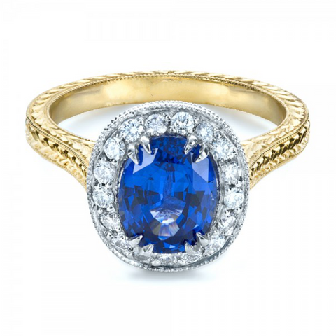 Natural Ceylon Blue Sapphire Diamond Halo Ring 18K Gold