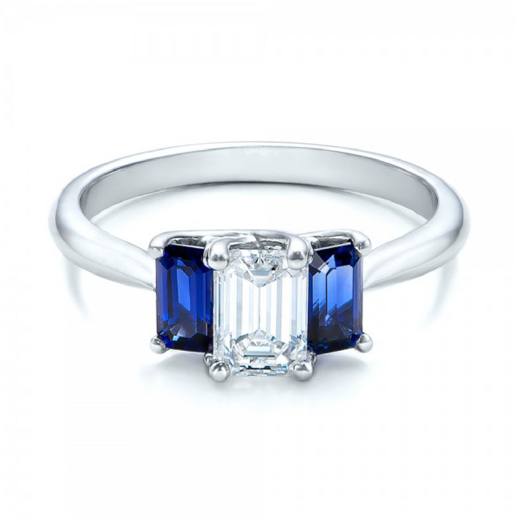Natural Sapphire & Diamond Three stone Ring 18K Gold