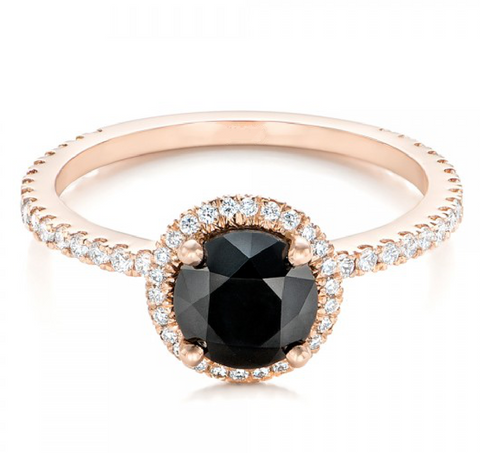 Round Cut Black Diamond Engagement Ring 18K Gold