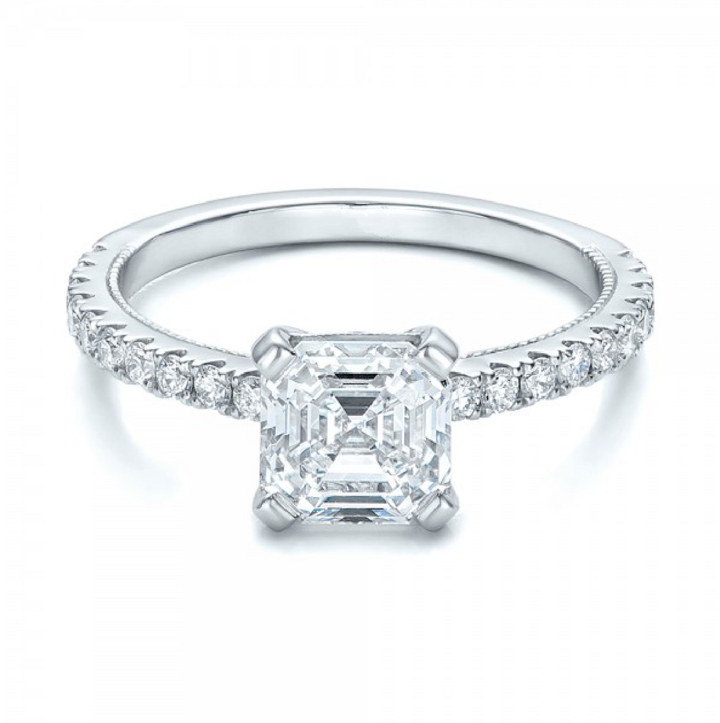 Asscher Cut Diamond Engagement Ring 18K Gold
