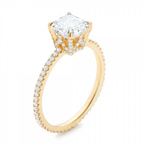 Asscher & Round Cut Diamond Engagement Ring 18K Gold