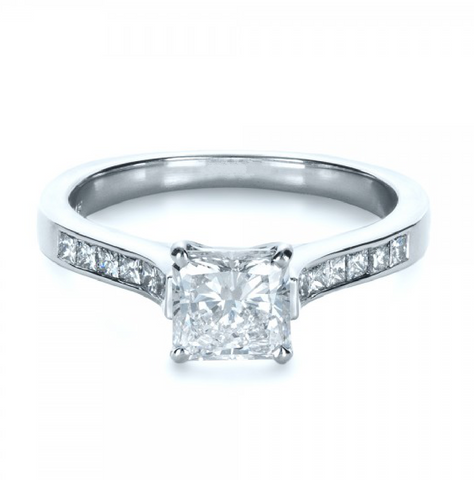 Princess Cut Diamond Engagement Ring 18K Gold