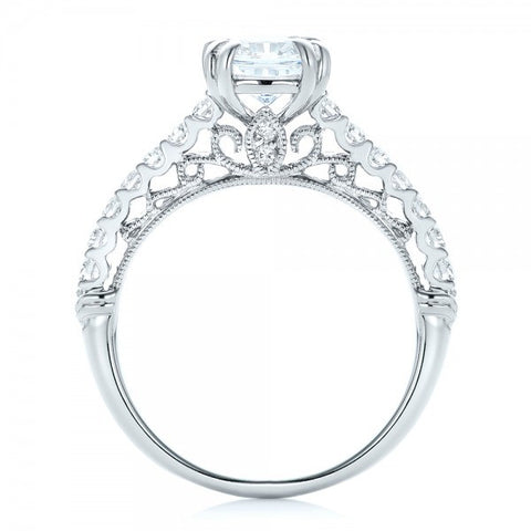 Radiant & Round Cut Diamond Vintage Engagement Ring 18K Gold