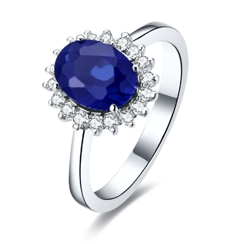 Natural Ceylon Blue Sapphire Diamond Halo Engagement Ring 18K Gold