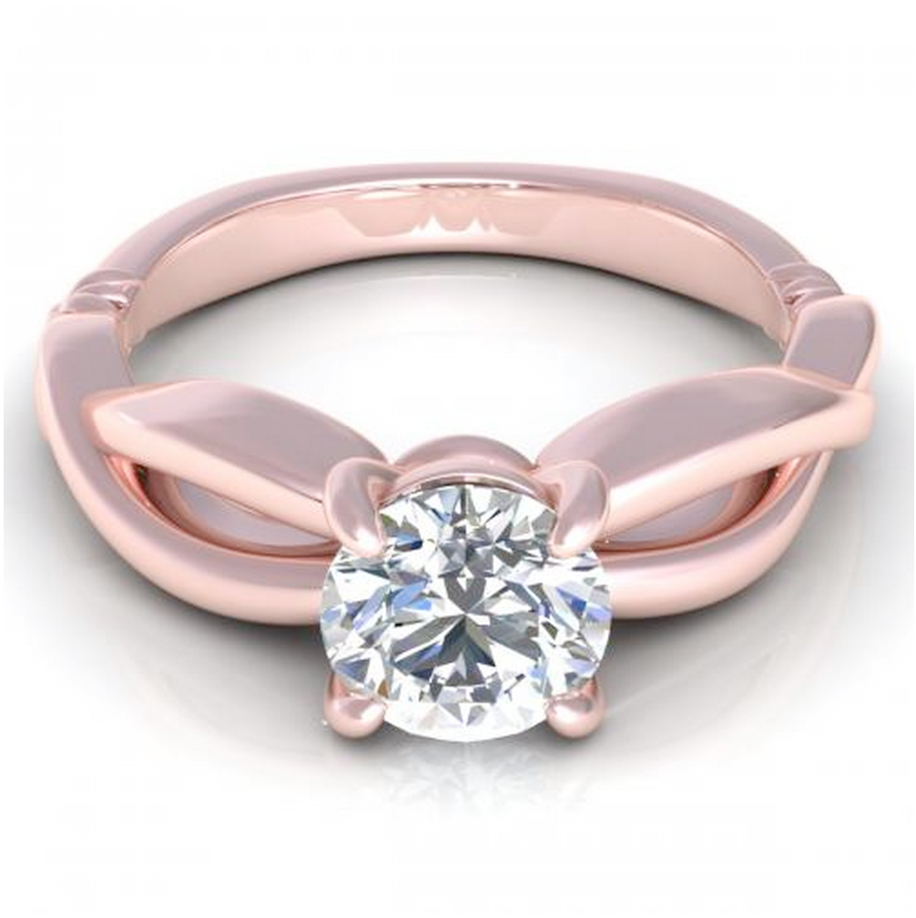 Round Cut Diamond Infinity Solitaire Ring 18K Rose Gold