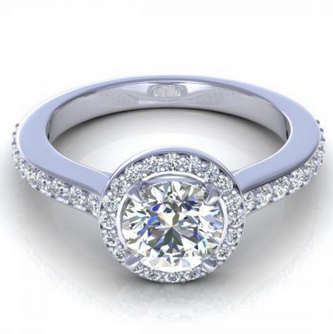 Round Cut Diamond Engagement Ring 18K White Gold