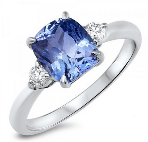 Blue Sapphire Diamond Three Stone Ring 18K Gold