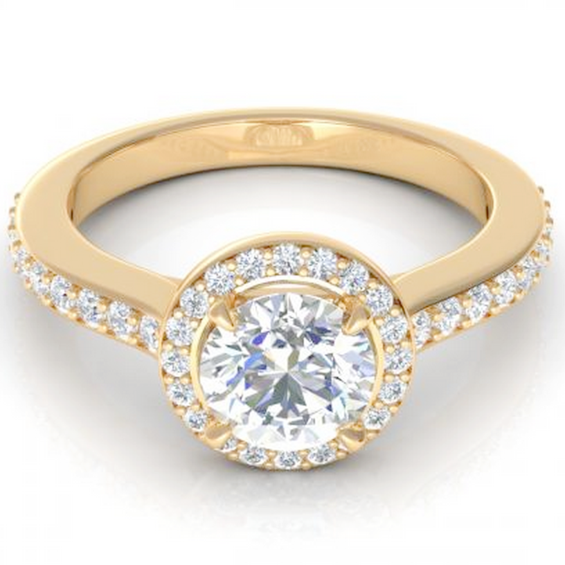 Round Cut Diamond Engagement Ring 18K Yellow Gold