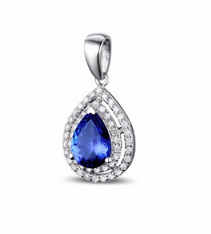 Natural Tanzanite & Diamond Pendant 18K Gold