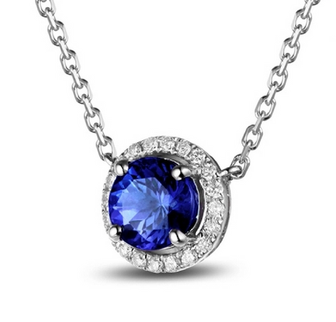 Natural Tanzanite Diamond Pendant & Necklace 18K Gold