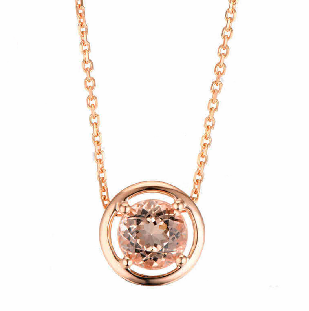 Natural Morganite Pendant Necklace 18K Rose Gold