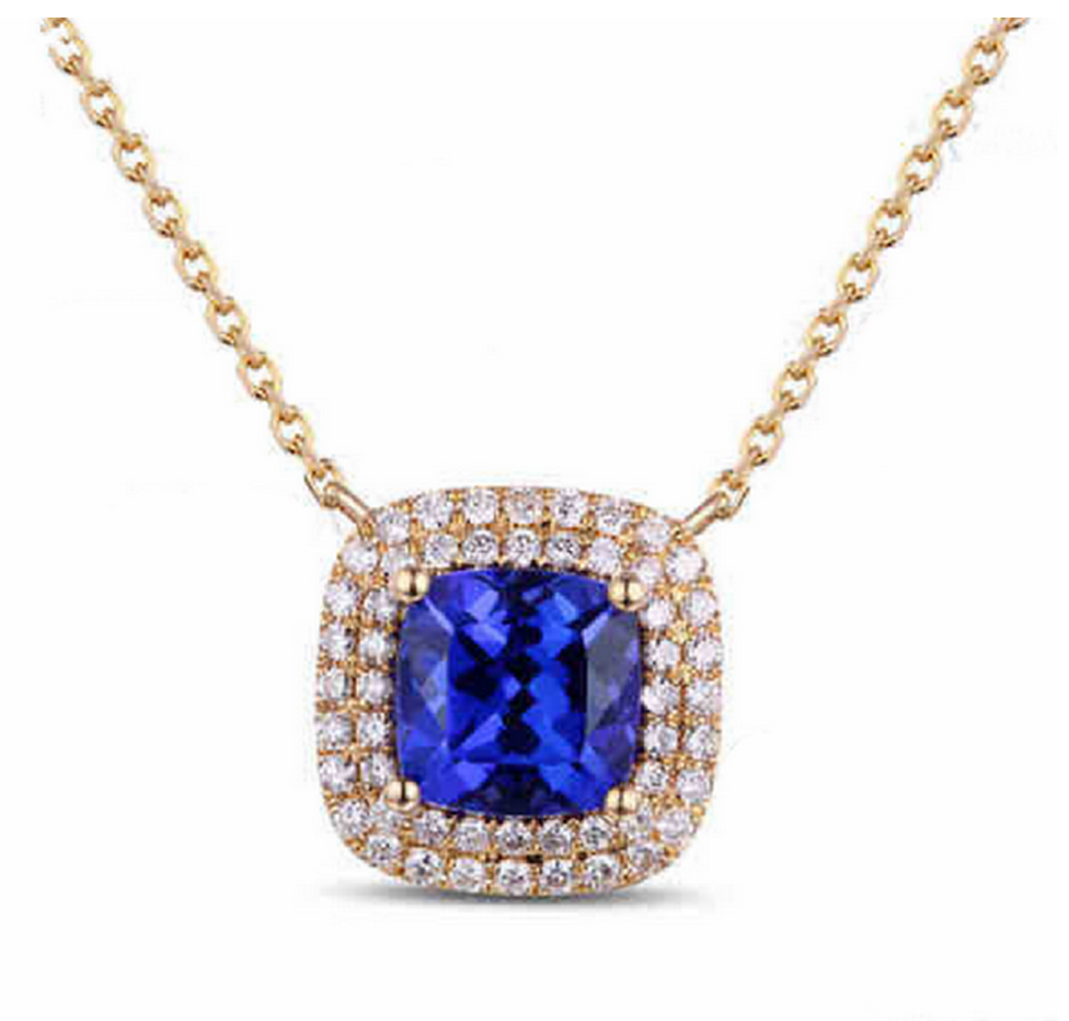 Natural Tanzanite & Diamond Pendant Necklace 18K Rose Gold