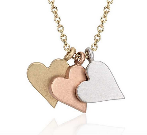 Tri Color Heart Charm Pendant (free chain) 14k Gold