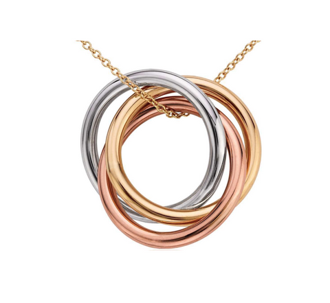 Tri Color Ring Pendant (free chain) 14k Gold