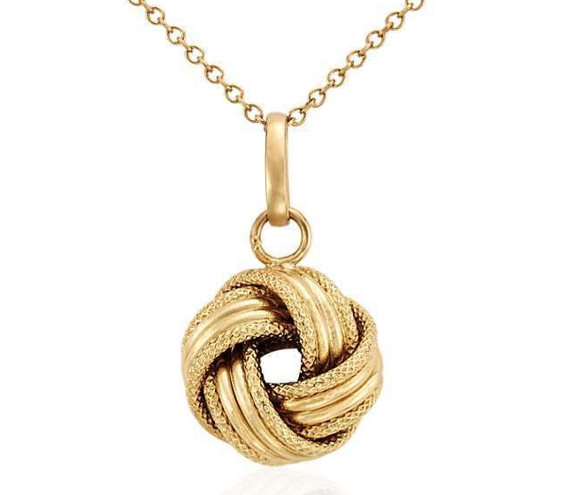 Woven Grande Love Knot Pendant (free chain) 14K Yellow Gold