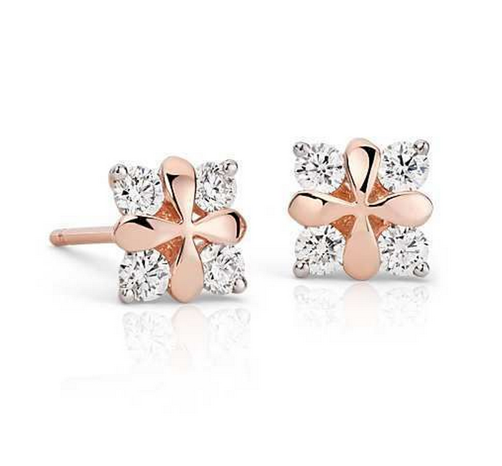 Diamonds Rose Petal Diamond Earrings 18k Rose Gold