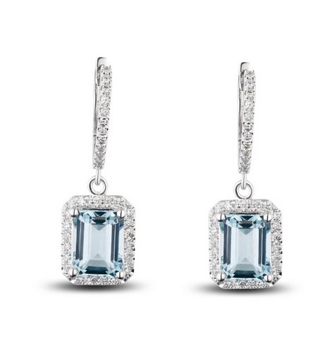 Natural Aquamarine Diamond Drop Earrings 18K Gold