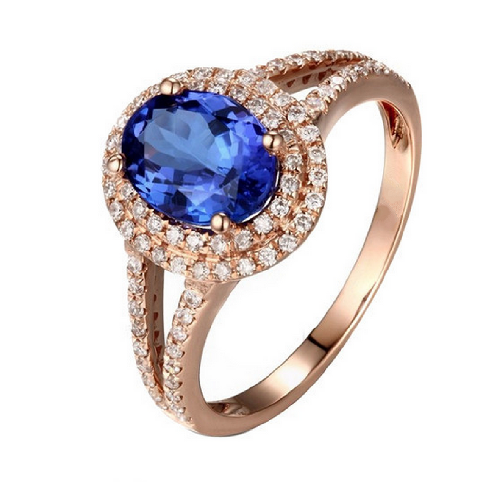 rings ring tanzanite oval gold blue stone wedding natural white engagement