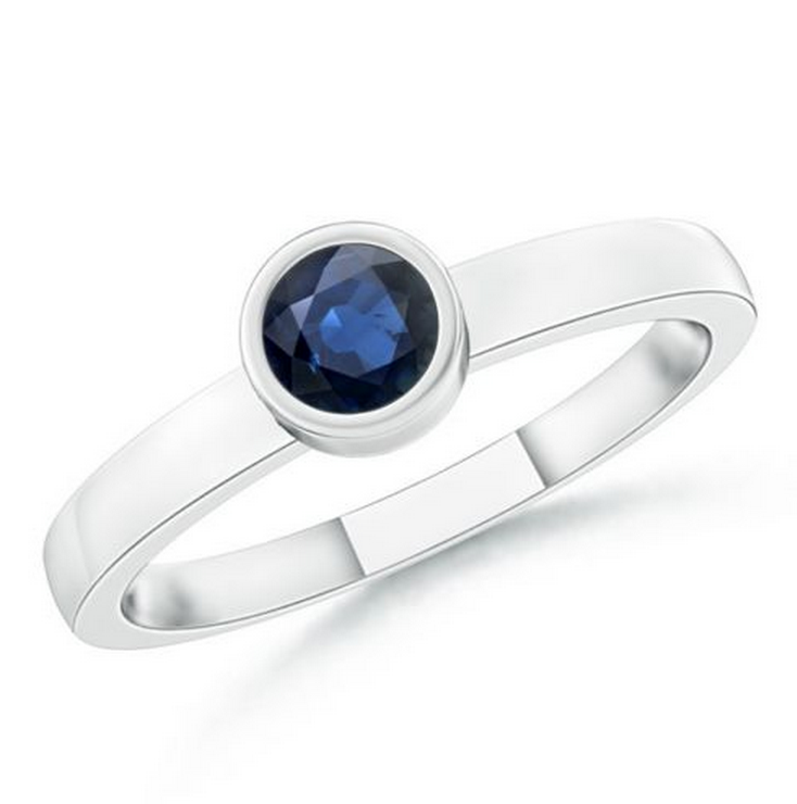 Natural Blue Sapphire Stackable Ring 14K White Gold