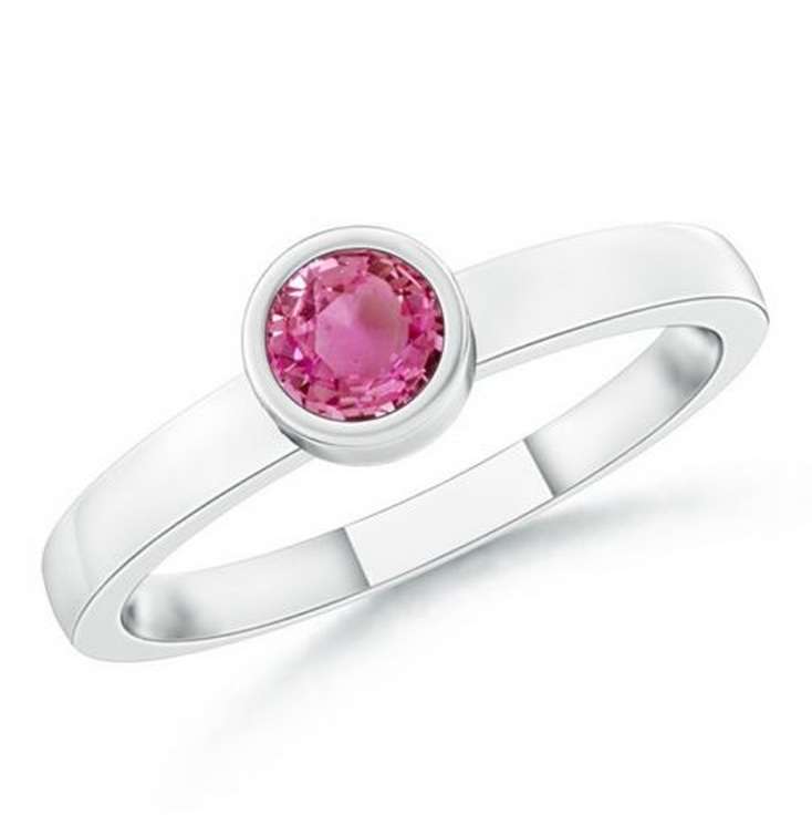 Natural Pink Sapphire Stackable Ring 18K White Gold