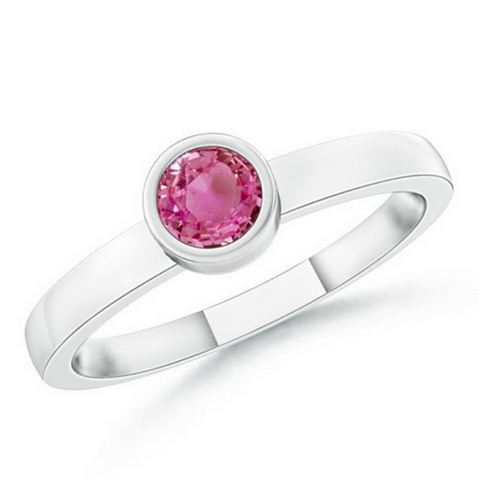 Natural Pink Sapphire Stackable Ring 14K White Gold