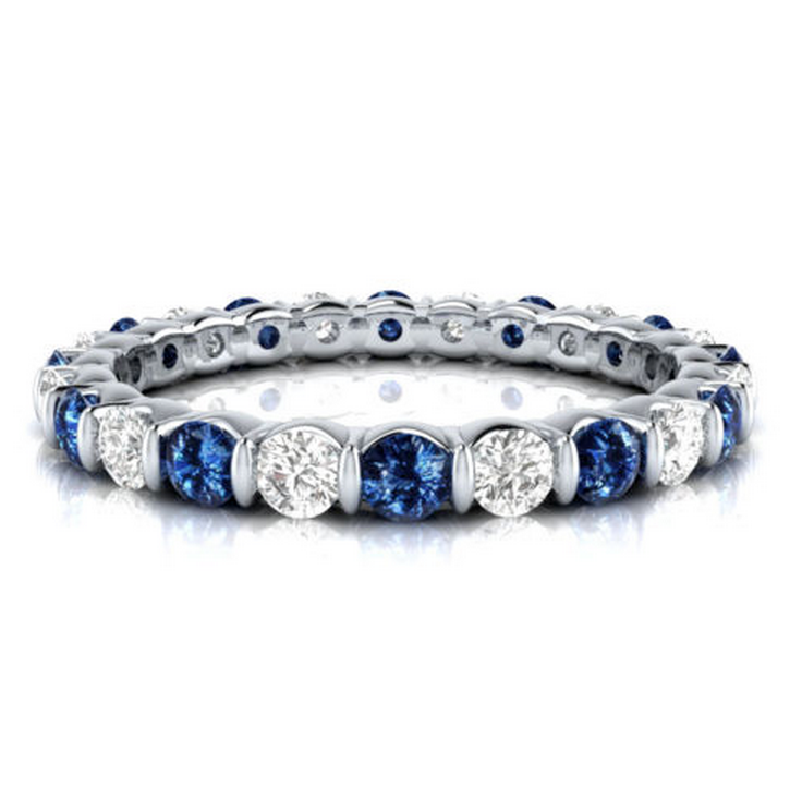 Natural Sapphire & Diamond Eternity Ring 18K Gold