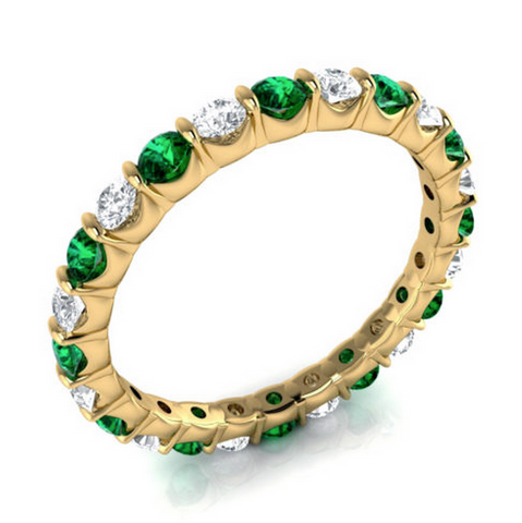Natural Emerald & Diamond Eternity Ring 18K Gold