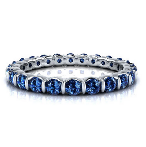 Natural Sapphire Eternity Ring 18K Gold