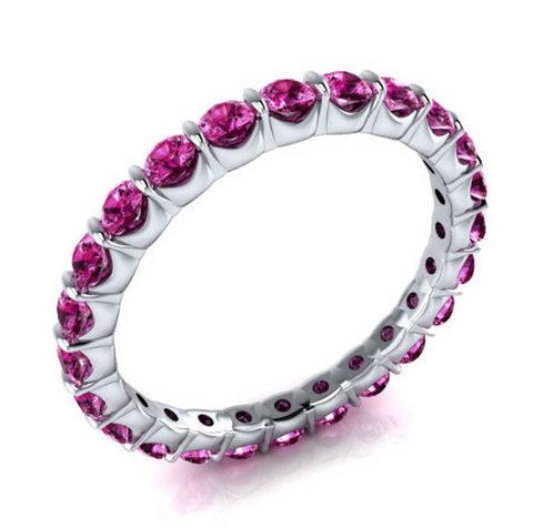 Natural Pink Sapphire Eternity Ring 18K Gold