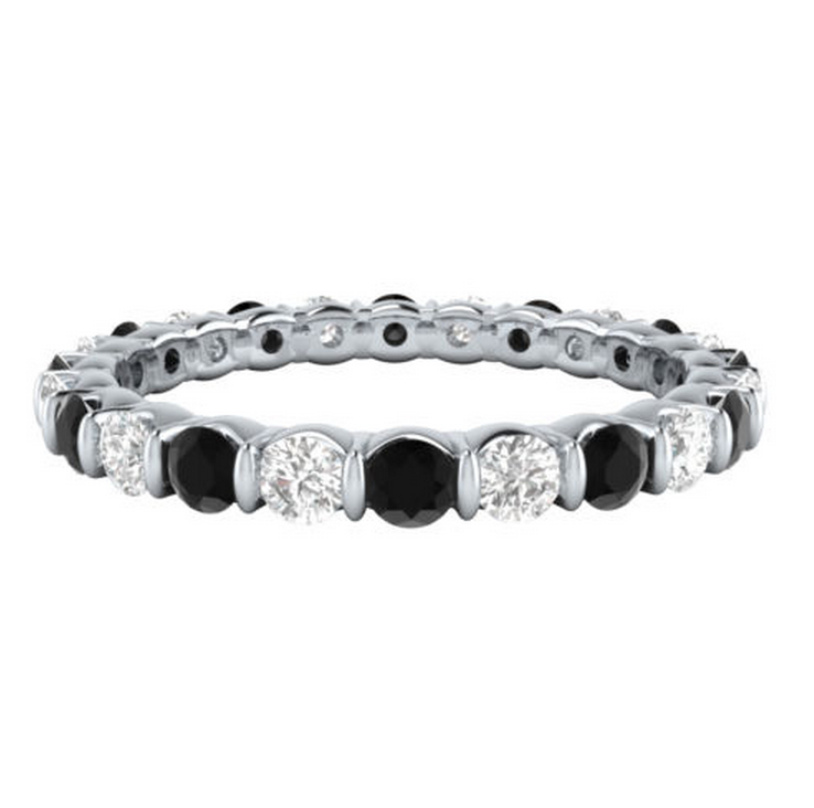 Black & White Diamond Eternity Ring 18K Gold