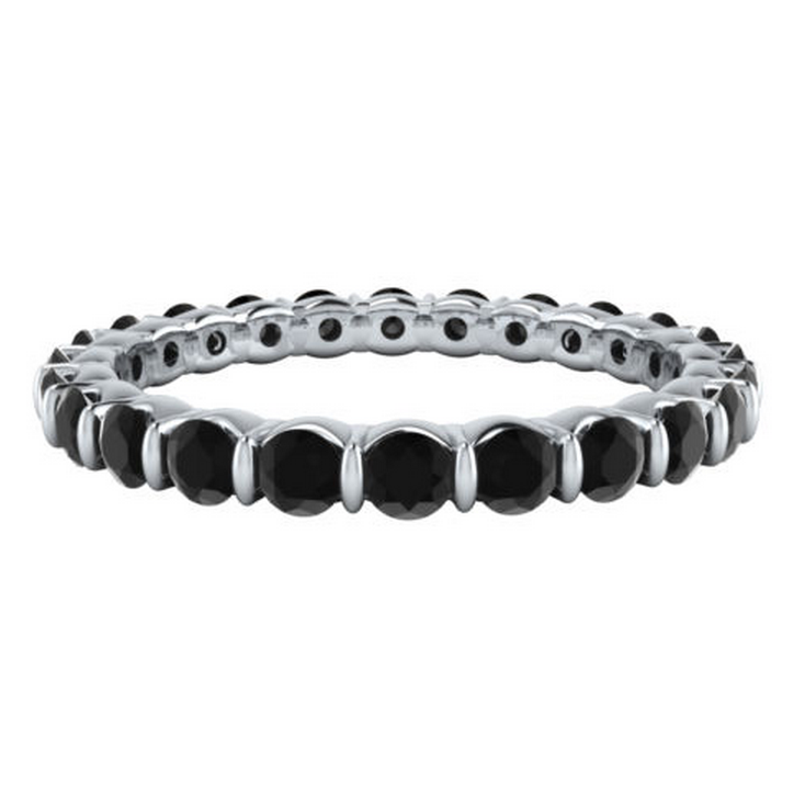 1.44CT TW Black Diamond Eternity Ring 18K Gold