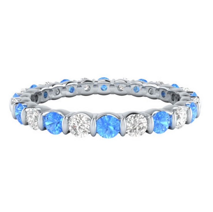 Natural Blue Topaz & Diamond Eternity Ring 18K Gold