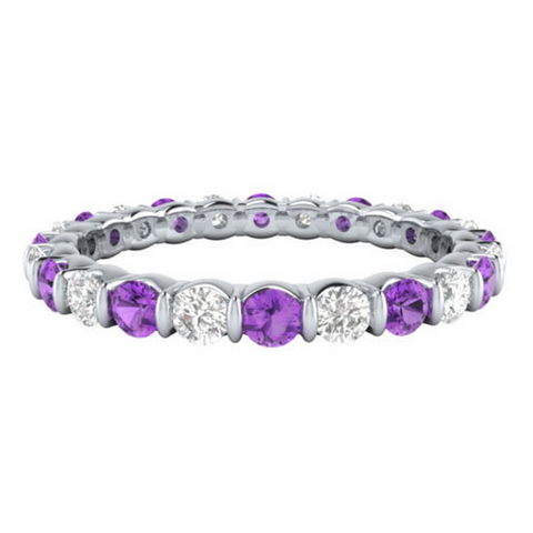 Natural Purple Amethyst & Diamond Eternity Ring 18K Gold