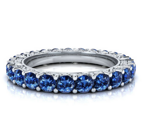Natural Sapphire Vintage Eternity Ring 18K Gold