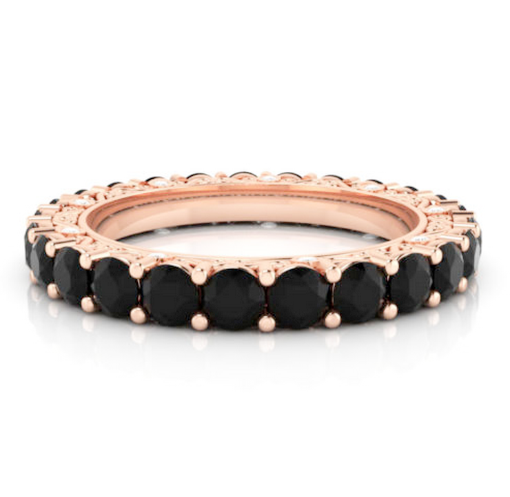 Black Diamond Vintage Eternity Ring 18K Gold