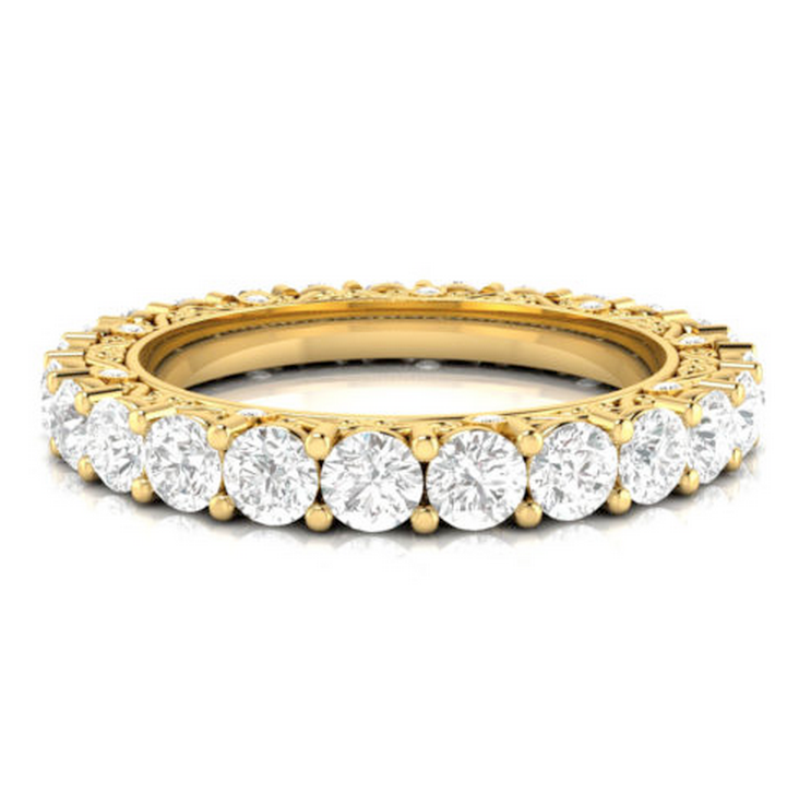 2.91CT TW Round Diamond Vintage Eternity Ring 18K Gold