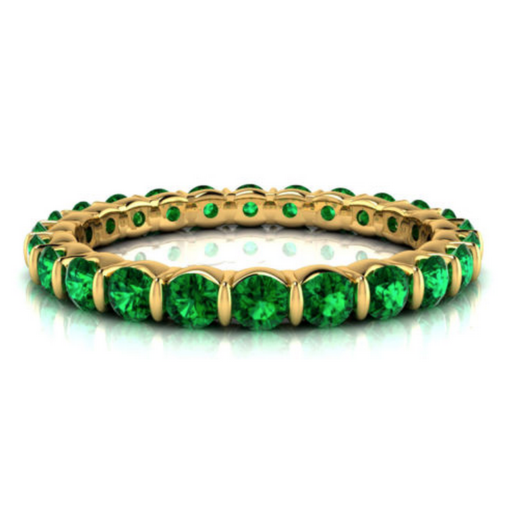 Natural Emerald Eternity Ring 18K Gold