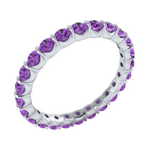 Natural Amethyst Eternity Ring 18K Gold