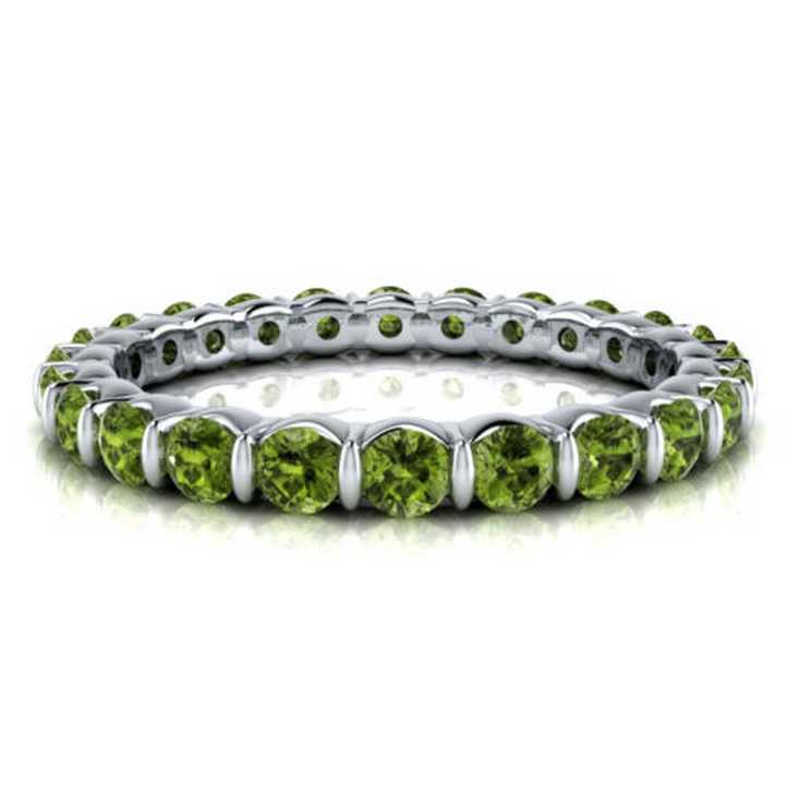 Natural Peridot Eternity Ring 18K Gold